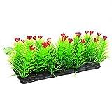 Un-brand Flores artificiales de plástico para acuario, césped, acuario, plantas acuáticas, decoración de color rojo, respetuoso con el medio ambiente y práctico