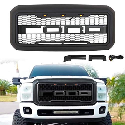 ALL4ROLL Raptor Style Front Grille Mesh Grill, Compatible with Ford F250/F-250 2011 2012 2013 2014 2015 2016, Matte Black