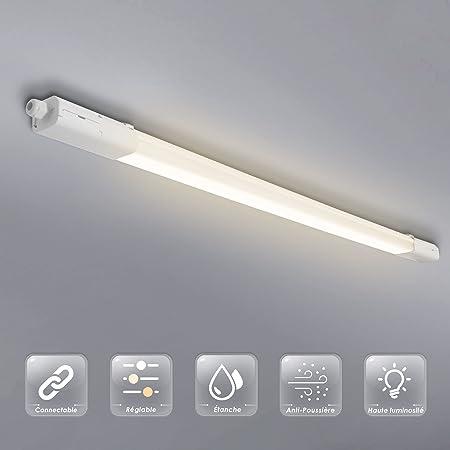 Allesin Réglette Tube LED Étanche, 120cm 36w 4300LM, Plafonnier Luminaire Néon LED, Températures de Couleur Régable, IP65 Étanche, Anti-Poussière et Anti-Corrosion, pour Garages, Entrepôt