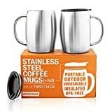 Stainless Steel Coffee Mugs with Lid (Set of 2) - 14 oz Double Walled Steel Coffee Glasses with Lid & Handle - Coffee to Go, Travel, Outdoor, Camping - Vacuum, Shatterproof, Durable Coffee Mug