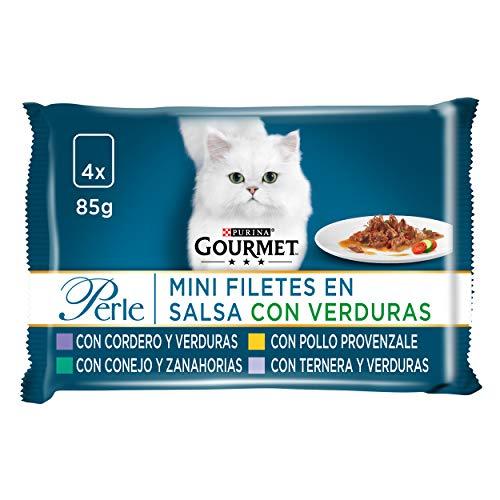 Purina Gourmet Perle Finas Láminas comida para gato con Verduras 12 x [4 x 85 g]