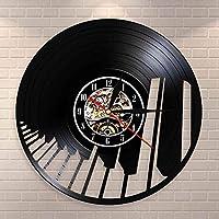 XDGサウンドウェーブピアノキーボードウォールアートウォールクロックピアニストビニールレコードウォールクロックミュージカルホームデコレーションクラシック音楽愛好家ギフト(サイズ:12インチカラー:ブラック)