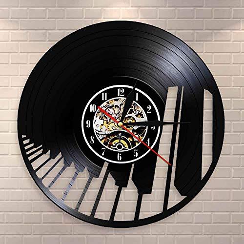 DJDLNK geluidsgolf piananeel toetsenbord muurkunst wandklok pianist wandklok muzikale wooncultuur klassieke muziekliefhebbers cadeau Zonder LED