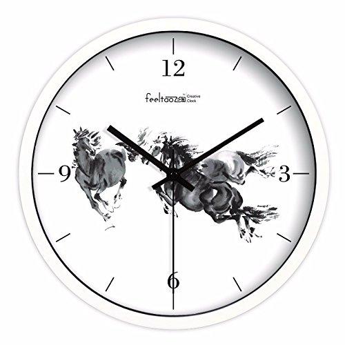 XPY-wall clock Moderno Cuarzo Reloj de Pared silencioso Adecuado para hogar y Cocina Mapa del Caballo de Tinta, 10 Pulgadas