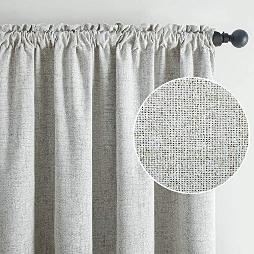 Top Finel Faux Linen 100% Blackout Curtains 84 Inches Long for Bedroom Living Room Thermal Insulated Drapes Room Darkening Rod Pocket Window Curtains, Light Grey, 2 Panels