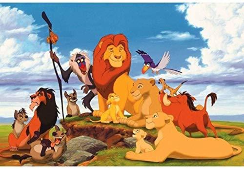 XYMLGS Jigsaw Puzzle de Madera de 500/1000/1500 PCS for niños niños y niñas Regalo, león de la Serie de Dibujos Animados Rey pósters Rompecabezas Inteligentes Juguetes (Color : C, Size : 300 pcs)