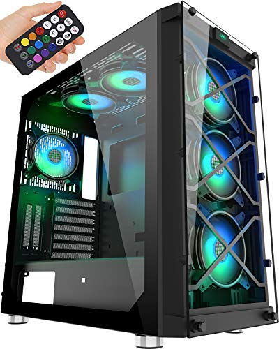 MUSETEX USB 3.0 Ports & 6 PCS 120mm LED ARGB Fans Pre-Installed ATX Mid Tower Computer Gaming Case with Remote Control Tempered Glass Window (BX6-MN6)