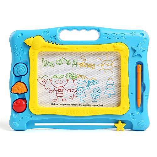 BelleStyle Tablero de Dibujo Magnético, Colorido Borrable Tablero de Garabatos Bosquejo Escribir Pizarras Magnéticas Juguete Educativo para Pequeños Niños Niñas, Tamaño de Viaje (Azul)