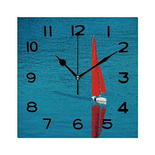 ALUONI 8 inch Square Clock Radio Remote Control Rc Sailing Yacht Boat Simulation Model Unique Wall Clock-for Living Room, Bedroom or Kitchen Use No124221