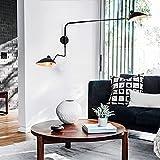 Lámpara de la vendimia largo Industrial Brazo de pared con interruptor ajustables 2 llamas luces de lectura lámpara de la mesita de metal Negro lámpara de pared de la habitación de salón de la