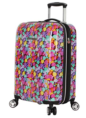 Betsey Johnson Designer 20 Inch Carry On - Expandable (ABS + PC) Hardside Luggage - Lightweight Durable Suitcase With 8-Rolling Spinner Wheels for Women (Candy Heart)