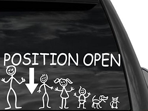 FGD Funny Stick Figure Single DAD & Family Position Open Arrow 12'x6' Car Truck SUV