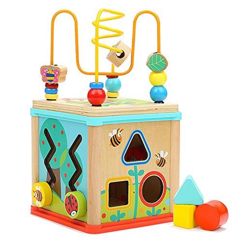 JSKLDF Juguetes educativos para bebés Caja de Tesoro tetraédrica Multifuncional de Madera con Cuentas 5 en 1 Cubo de Actividades Juguetes para niños Juguetes de educación temprana
