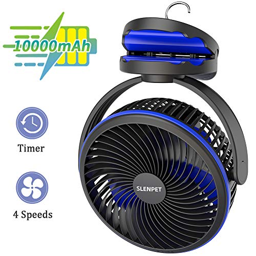 10000mAh Portable Rechargeable Clip on Fan, 7 inch Battery Operated Baby Stroller Fan, 2-6 Hours Timer, Quiet USB Fan, 4 Speeds Personal Desk Fan, 40 Hours Work Time Ideal for Outdoor Camping Home