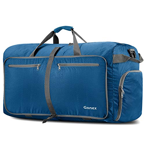 Gonex 100L Travel Duffel Bag Foldable Water Resistant Travel Bag Lightweight Duffel Bag with Big Capacity for Luggage Gym Sports Deep blue