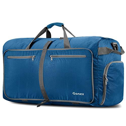 Gonex 100L Borsa da viaggio Borsa Pieghevole Impermeabile per Viaggio Sport Palestra Campeggio Bagaglio a Mano Tracolla con Grande Capacità di 100 Litri (Blu Scuro)