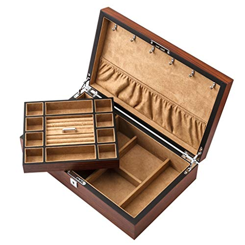 WEI caixa de exibição de relógios, caixa de armazenamento de joias de madeira, marrom, 2 camadas, caixa de exibição de relógios, caixas de joias empilhadoras de relógios de pulso, coleções de pulseiras, 36 x 9,2 x 22 cm