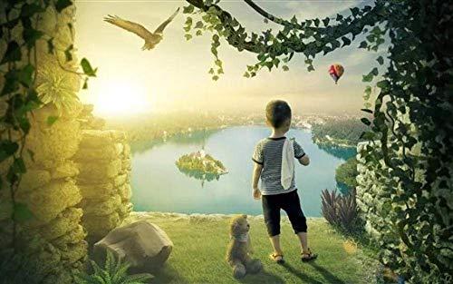 Puzzels 1000 stukjes voor volwassenen Kinderen Kleine jongen en teddy Houten kindergeschenken Puzzel Decompressie Decoupeerzagen