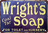 None Brand Wright as Coal Tar Soap Peinture sur Fer Rétro Métal décoration Murale Signe en étain Vintage Plaque Stickers Muraux Cadeau Cour Bar Café Pub Club Bar Cadeau
