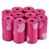 Best Pet Supplies Dog Poop Bags for Waste Refuse Cleanup, Doggy Roll Replacements for Outdoor Puppy Walking and Travel, Leak Proof and Tear Resistant, Thick Plastic - Pink Heart, 150 Bags