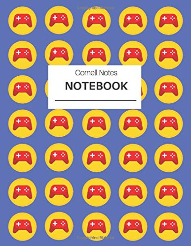 Video gamer Cornell Notes Notebook with game controllers pattern: Effective note taking system for back to school, textbook notes, work meetings, conference notes