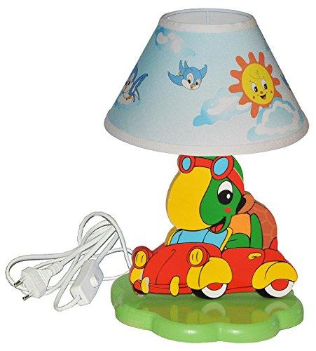 alles-meine.de GmbH hochwertige Tischlampe aus Holz - Schildkröte im Auto - 37 cm hoch - Kinderzimmer Tischleuchte - Lampe Tiere - Nachttischlampe für Kinder Stehlampe / Tischleu..
