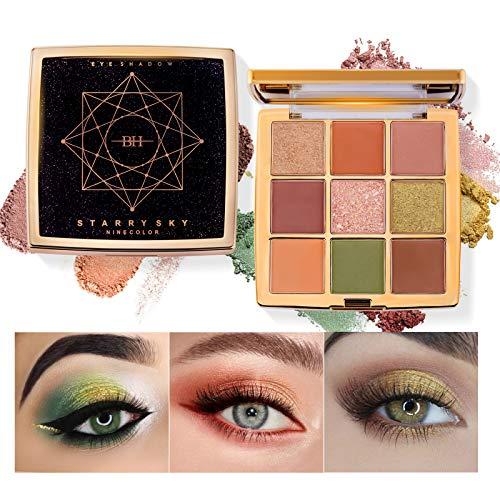 OLesley Sombra de ojos estrellada 9 colores sombra Profesional Altamente pigmentado Duradero Paleta de sombra de ojos Brillo y mate Regalo de paletas de maquillaje de ojos a prueba de agua (91)