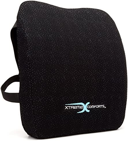 Best Xtreme Comforts Memory Foam Back Support Cushion - Designed for Back Pain Relief - Lumbar Pillow wit