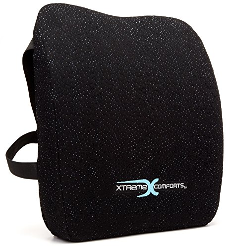 Xtreme Comforts Memory Foam Back Support Cushion - Designed for Back Pain Relief - Lumbar Pillow with Premium Adjustable Strap - Hypoallergenic Ventilative Mesh - Alleviates Lower Back Pain