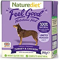 TURKEY & CHICKEN, RICE & CARROTS. Complete and balanced nutrition - drinking water should be available at all times and chewing/gnawing items made available for dental hygiene. Certified holistic and naturally moist dog food Wheat gluten free. Minimu...