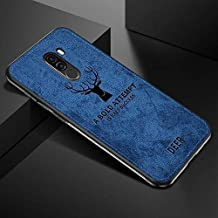 WPRIE Deer Pattern Art Cloth Surface PC + Soft Flex Silicone TPU Bumper Frame Shock Absorption Protective Cover Case Xiaomi Poco F1 (Blue)