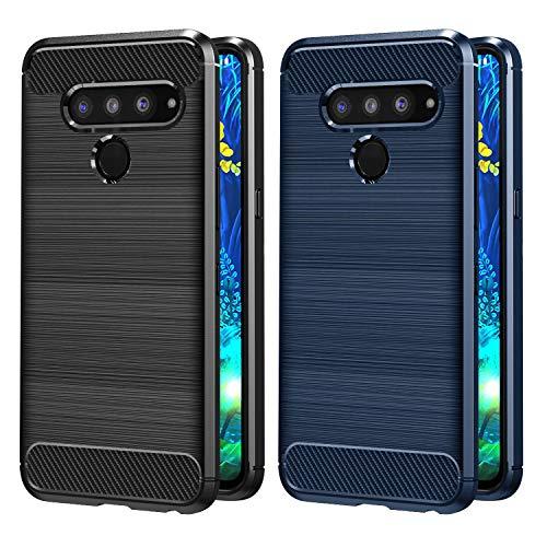 VGUARD [2 Pack] Cover per LG V50 ThinQ 5G, [Fibra di Carbonio] Protezione Posteriore Soft TPU Custodia Case per LG V50 ThinQ 5G (Nero+Blu)