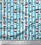 Soimoi Blau Baumwolle Ente Stoff Streifen, Erdbeere &