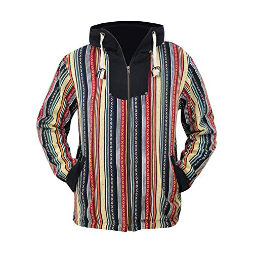 virblatt –Baja Jacke Poncho Herren Goa Hoodie Pullover Hippie Kleidung Ethno Mode - Maastricht L