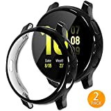 Tensea Compatible with Galaxy Watch Active 2 Case 40mm, 2 Packs Soft TPU Bumper Full Around Screen Protector Cover for Samsung Galaxy Watch Active2 40mm (Black, 40mm)