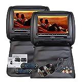 Roboraty Monitor Dvd per Poggiatesta Universale per Auto, Lettore LED da 9 Pollici, Risoluzione 800 * 480, Adatto per MP5 / USB/SD/FM/IR, ECC, Supporto di più Lingue,2PCS