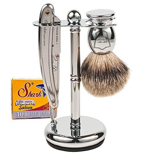Parker Safety Razor Parker Sr1 Rasiermesser Rasur-Set - Enthält 100% Pure Badger Bürste, Deluxe Chrome Shave Stand Parker Sr1 Rasierer und Rasierklingen 100