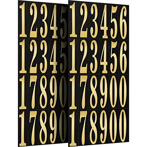 Numbers Stickers Self Adhesive Vinyl Numbers in 0-9 Printing and Hot Stamping for DIY Crafts Party Decoration, 11.9 x 5.4 inch (2 Pieces)