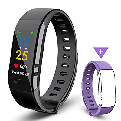 Fitness Tracker,EJIKER Fitness Trackers with Heart Monitor IP67 Waterproof HR Blood Pressure Color Display Digital Watch Smart Watch Waterproof with Step Tracker/Calorie Counter/Sedentary/Call/SMS for Android & iOS by EJIKER