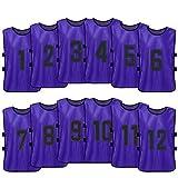 Lixada 12 Piezas de Fútbol para Niños Pinnies Jerseys de Fútbol de...