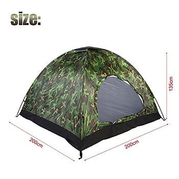 Outdoor Tente de camping Camouflage 3~ 4personnes protection UV étanche Famille de voyage imperméable Festival randonnée Tente pliante avec Portable Sac de transport