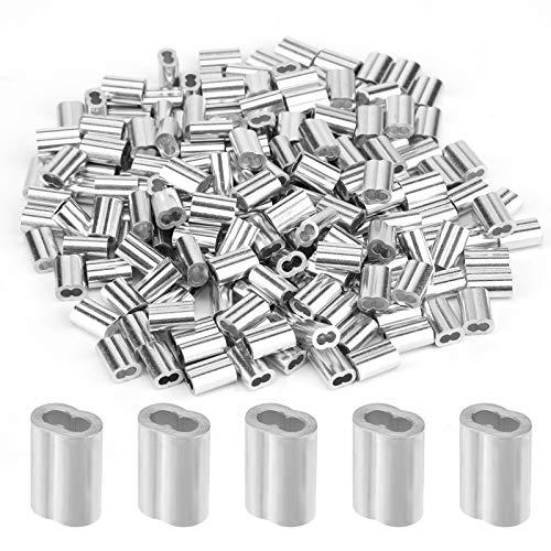 AIEX 200 Stück Aluminium-Crimpschleifenhülse Drahtseilhülsen Ferrule- Crimpschleifenhülse für Drahtseil und Kabel mit 1,5 mm Durchmesser