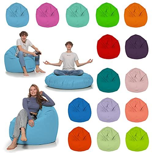 HomeIdeal - Sitzsack 2-in-1 Funktionen Bodenkissen für Erwachsene & Kinder - Gaming oder Entspannen - Indoor & Outdoor da er Wasserfest ist - mit EPS Perlen, Farbe:Hellblau, Größe:110 cm Durchmesser