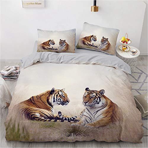 Colcha decorativa 3D realista de lujo con diseño de tigre y fauna silvestre de microfibra para el dormitorio del hotel (K,220 x 240)