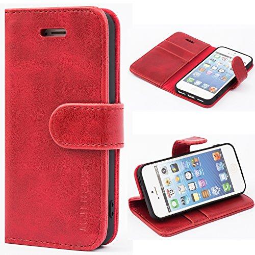 Mulbess Coque pour iPhone 5s, Etui iPhone 5s Cuir avec Magnetique, Housse Protection pour iPhone SE 2016 / 5s / 5 Case, Vin Rouge