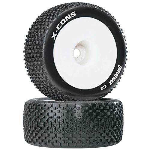 Duratrax X-Cons 1:8 Scale Truggy Tires with Foam Inserts, C2 Soft Compound, Mounted on 1/2' Offset White Wheels (Set of 2)