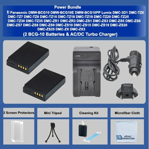 2 BCG-10 Batteries + AC/DC Turbo Charger with Travel Adapter + Complete Deluxe Starter Kit for Panasonic DMW-BCG10 DMW-BCG10E DMW-BCG10PP Panasonic Lumix DMC-3D1 DMC-TZ6 DMC-TZ7 DMC-TZ8 DMC-TZ10 DMC-TZ18 DMC-TZ19 DMC-TZ20 DMC-TZ25 DMC-TZ30 DMC-TZ35 DMC-ZR1 DMC-ZR3 DMC-ZS1 DMC-ZS3 DMC-ZS5 DMC-ZS6 DMC-ZS7 DMC-ZS8 DMC-ZS9 DMC-ZS10 DMC-ZS15 DMC-ZS19 DMC-ZS20 DMC-ZS25 DMC-ZX DMC-ZX3