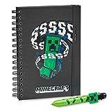 Minecraft Pack Cuaderno A5 y Boli 6 colores, Material Escolar, Regalos Cumpleaños de Niños para Colegio