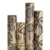 RUSPEPA Kraft Gift Wrapping Paper Roll - Black Tropical Summer Elements Printed Great for Congrats, Holiday and Special Occasion Gifts - 4 Roll - 30Inch X 10Feet Per Roll