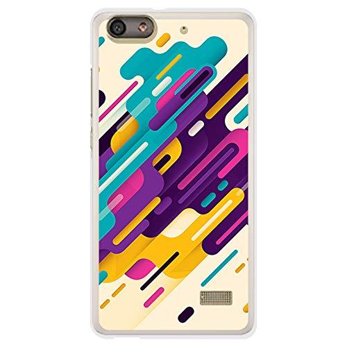 BJJ SHOP Custodia Nera per [ Huawei G Play Mini ], Cover in Silicone Flessibile TPU, Design: Strisce Pastello